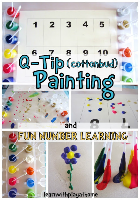 Q-Tip (cottonbud) Painting: Learning Numbers by Learn with Play at Home