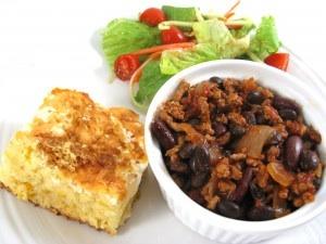 Skinny Turkey Chili and Cornbread Casserole, Great for Football Season by Skinny Kitchen