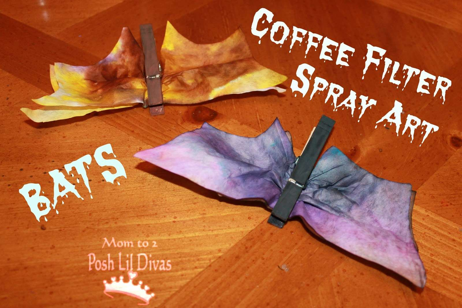 Coffee Filter Spray Art Bats by Mom to 2 Posh Lil Divas