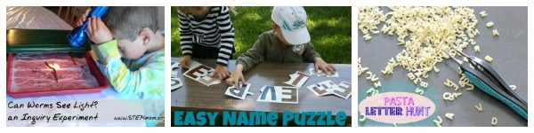 Earthworms, Name Puzzles and Pasta Letter Hunt