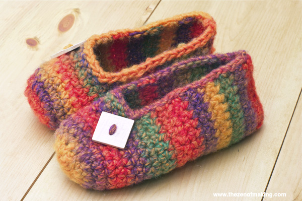 Crochet Patterns Slippers : Crochet Pattern: Rainbow Striped Slippers ~:: Zen of Making ::~