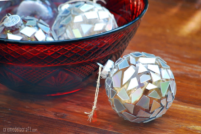 Diy mosaic ornaments from cds by creme de la craft do it yourself holiday christmas tree ornaments craft solutioingenieria Gallery