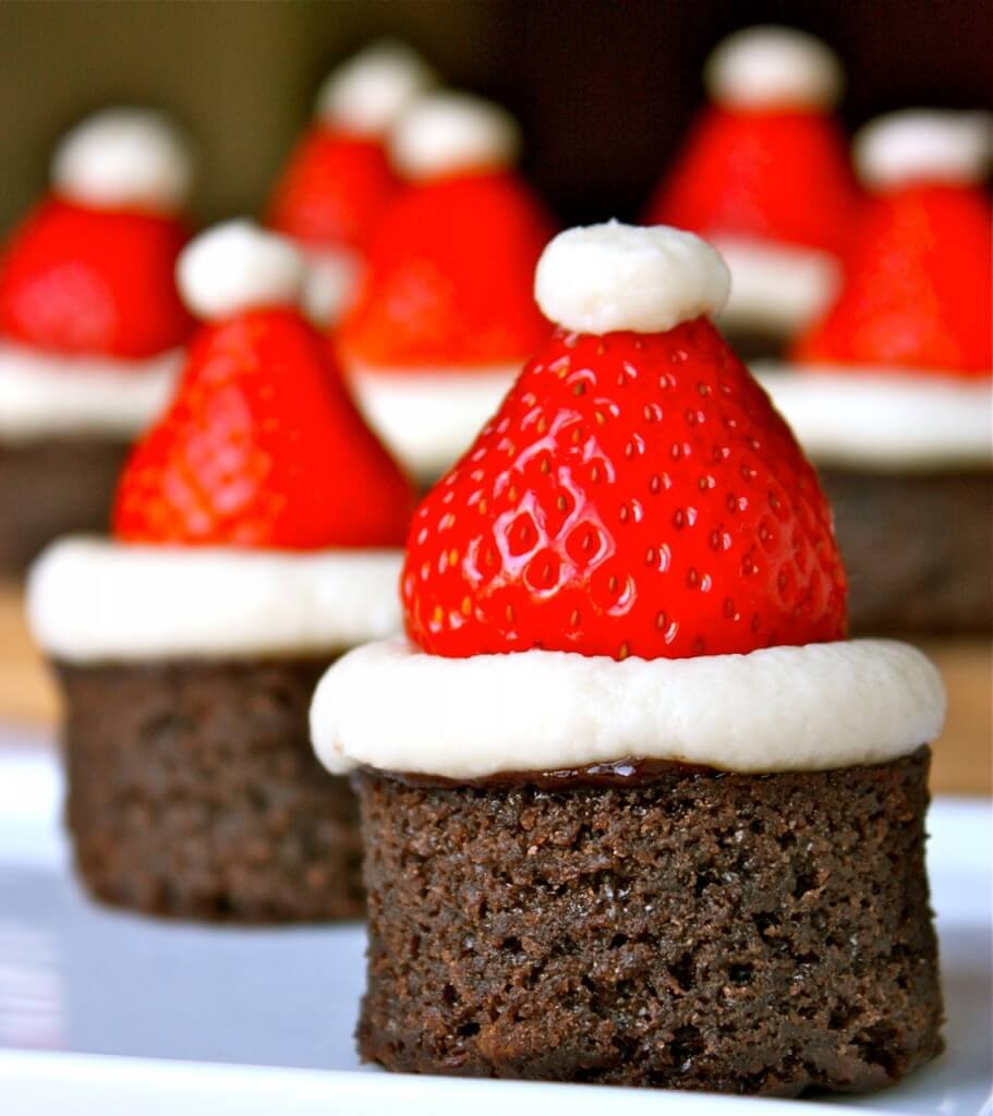 Santa Hat Brownies Christmas recipe