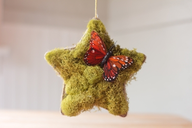 Homemade Woodland Christmas Ornament with moss