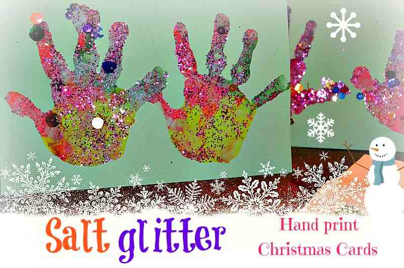 Salt glitter handprint christmas cards from blog me mom for Toddler craft gift ideas