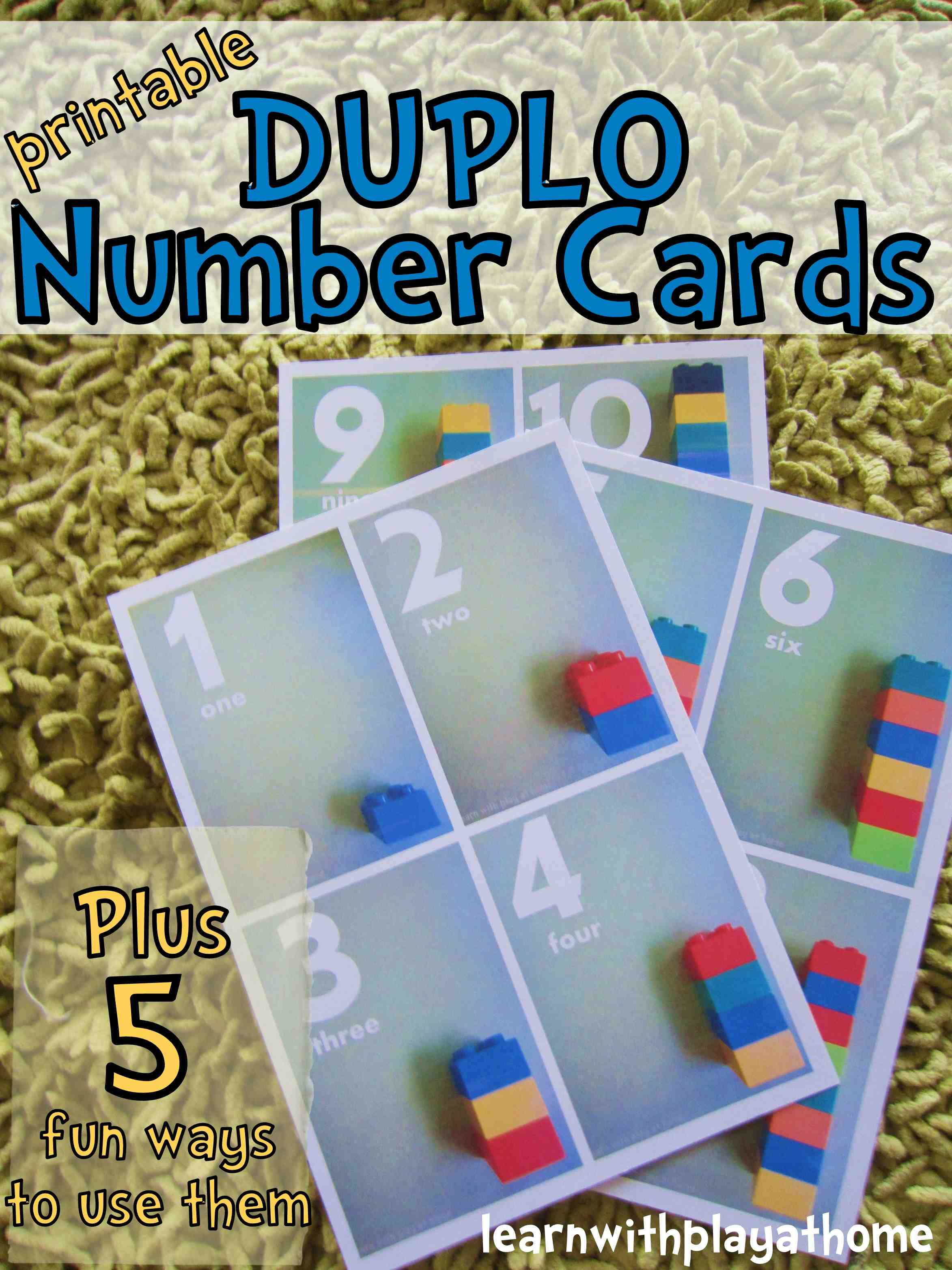 Duplo Number Cards and Printable