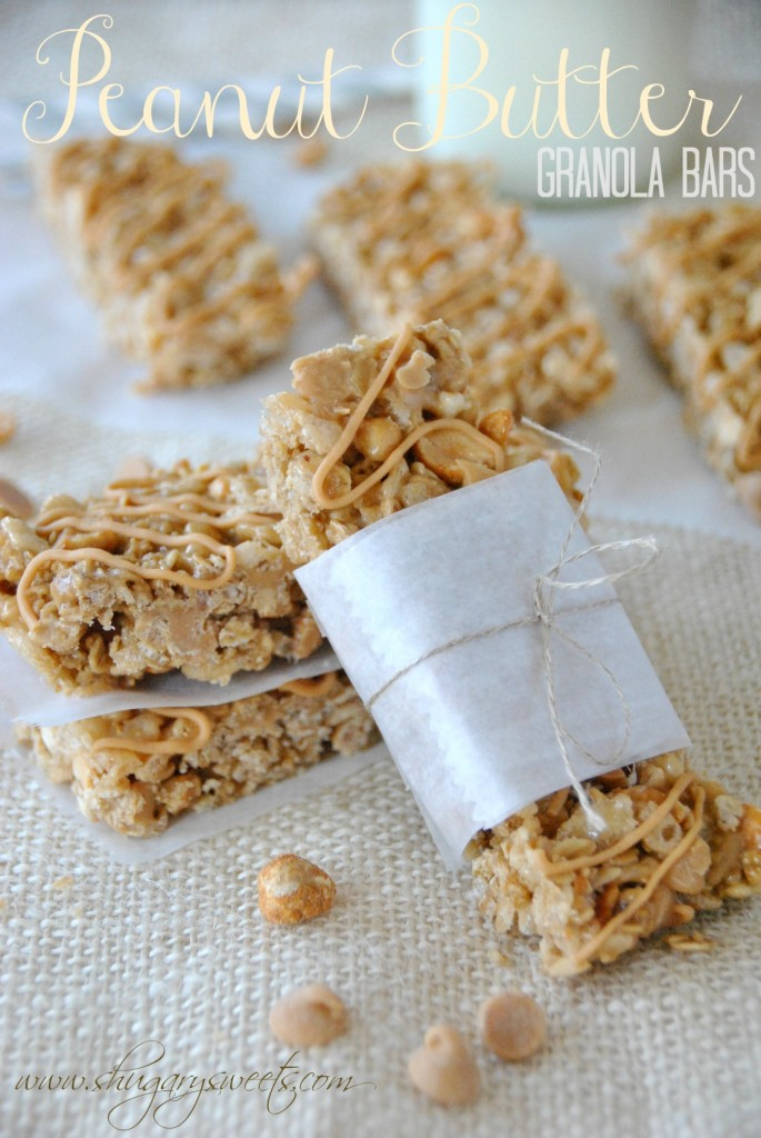 Peanut Butter Granola Bars Recipe by Shugary Sweets