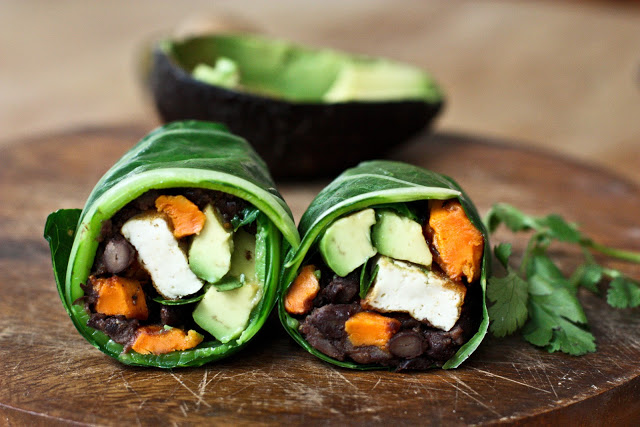 Collard Green Wraps with Roasted Yam and Chipotle Black Beans by Feasting at Home