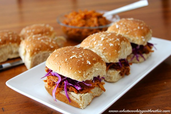 Pulled Ginger-Chicken Slider with Cilantro Slaw by What's Cooking with Ruthie