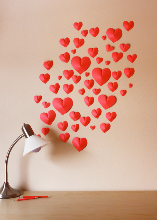 wall of paper heart valentines day craft