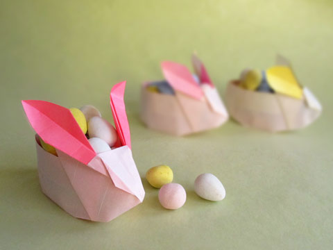 Origami Easter Rabbit Baskets Tutorial