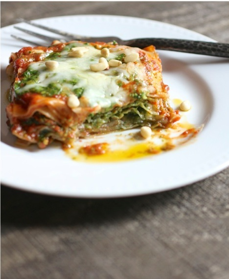 Lasagna stacks recipe with pesto