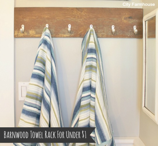 How To Make A Barnwood Towel Rack for Under $1 by City Farmhouse