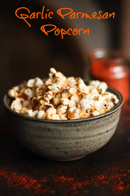 Garlic Parmesan Popcorn by Feasting at Home
