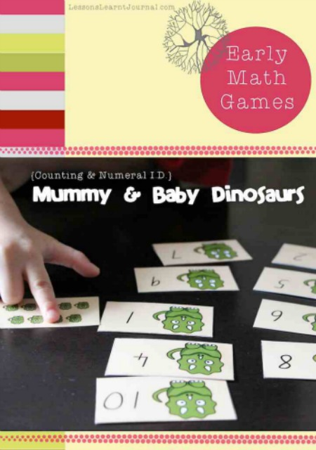 Math Games: Numeral Identification & Counting, Dinosaurs by Lessons Learnt Journal
