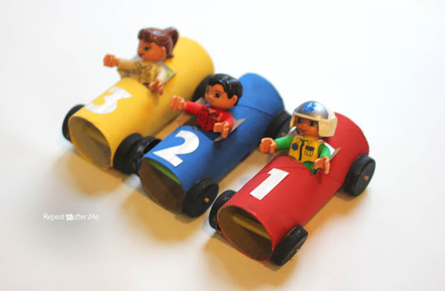Toilet Paper Roll Race Cars by Repeat Crafter Me