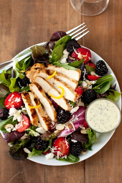 Salad with Berries, Grilled Lemon Chicken, Feta and Homemade Poppy Seed Dressing by Cooking Classy