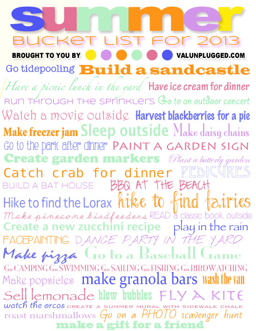 Summer Bucket List 2013 by Val Curtis of Bonbon Break