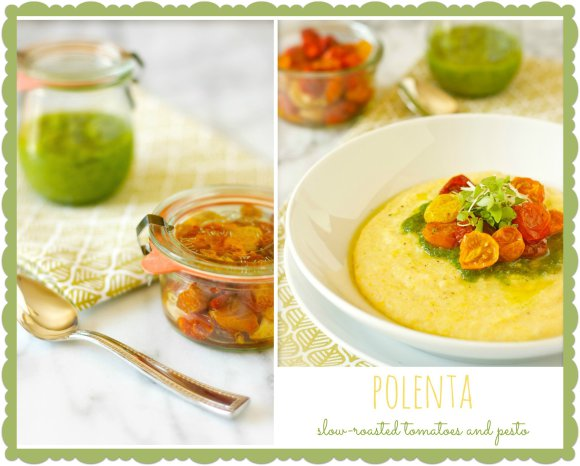 Polenta with slow-roasted tomatoes and pesto from Daisy's World