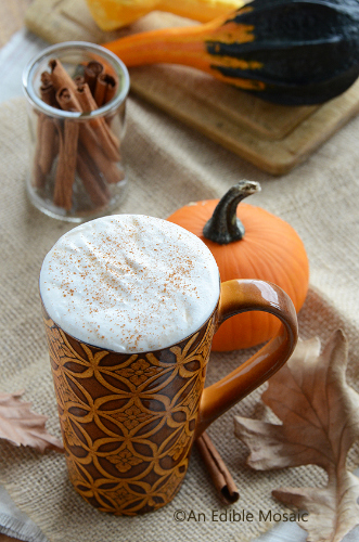 Sugar Free Pumpkin Spice Syrup Latte by An Edible Mosaic