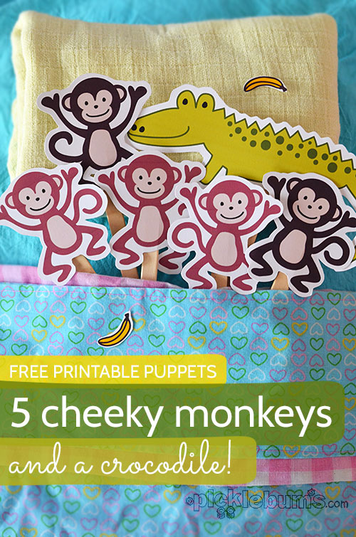 Printable Puppets – Five Cheeky Monkeys… and a Crocodile! by Picklebums