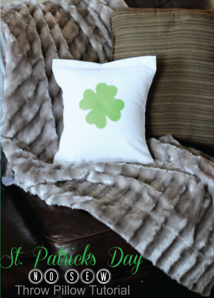 St. Patrick's Day No Sew Throw Pillow by Jennifer West of PinkWhen