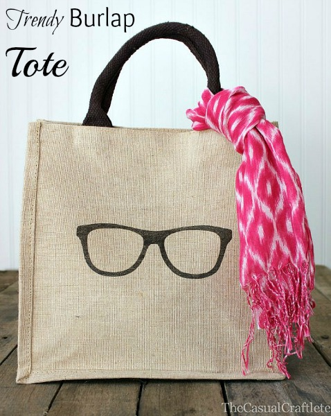 Trendy Burlap Tote by The Casual Craftlete