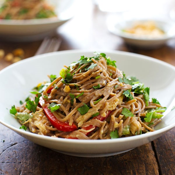 Spicy Peanut Chicken Soba Noodle Salad by A Pinch of Yum