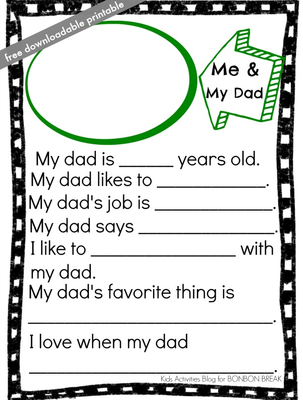 photograph about Father's Day Fill in the Blank Printable called Fathers Working day Printable