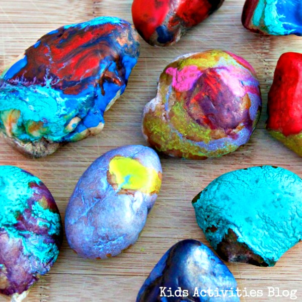 Make Melted Crayon Art With Hot Rocks From Kids Activities Blog
