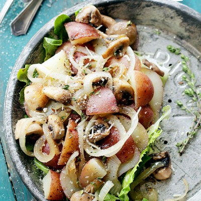 Dijon Potato Salad with Mushrooms and Onions by Diethood
