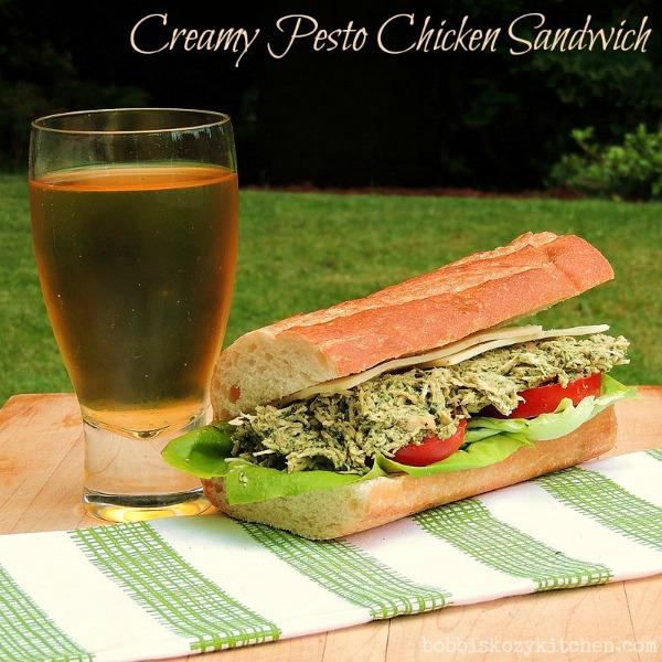 Creamy Pesto Chicken Sandwich by Bobbi's Kozy Kitchen — BonBon Break