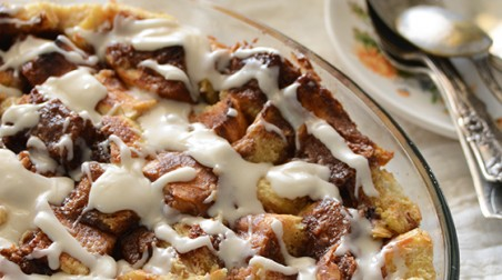Cinnamon Bun Bread Pudding Recipe from An Edible Mosaic
