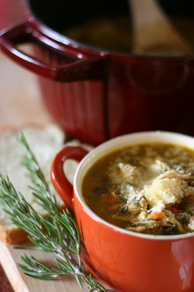 This simple soup is the perfect recipe for Fall. A Hearty Rosemary Chicken Soup will warm you on even the coldest nights. #Glutenfree