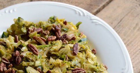 10 Minute Warm Maple-Dijon Brussels Sprout Salad with Pecans