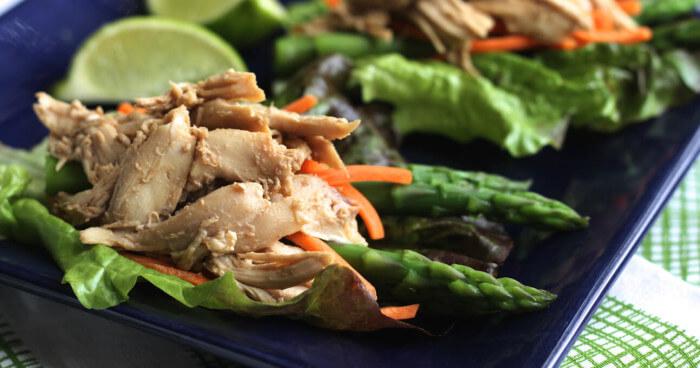 Quick Chicken-Asparagus Lettuce Wraps