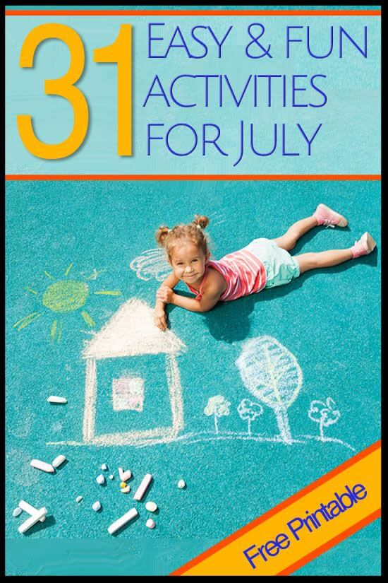 31 days of EASY, SIMPLE, Summer Fun for kids with a FREE printable calendar to download and print.