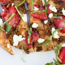 Strawberry Flatbread with Balsamic Onions and Goat Cheese