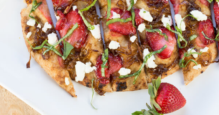 Strawberry Flatbread With Balsamic Onions and Goat's Cheese