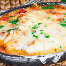 Gnocchi with Bacon, Tomato Sauce, and Mozzarella