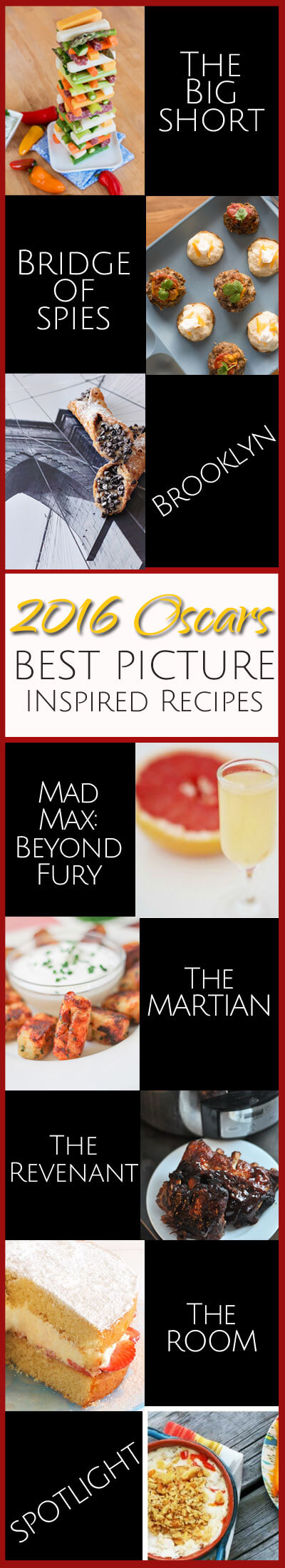 If you're thinking about hosting an Oscars party this year, this collection of best picture-inspired recipes -- along with tips and tricks from food bloggers -- should help you host an award-winning evening for your friends and family.