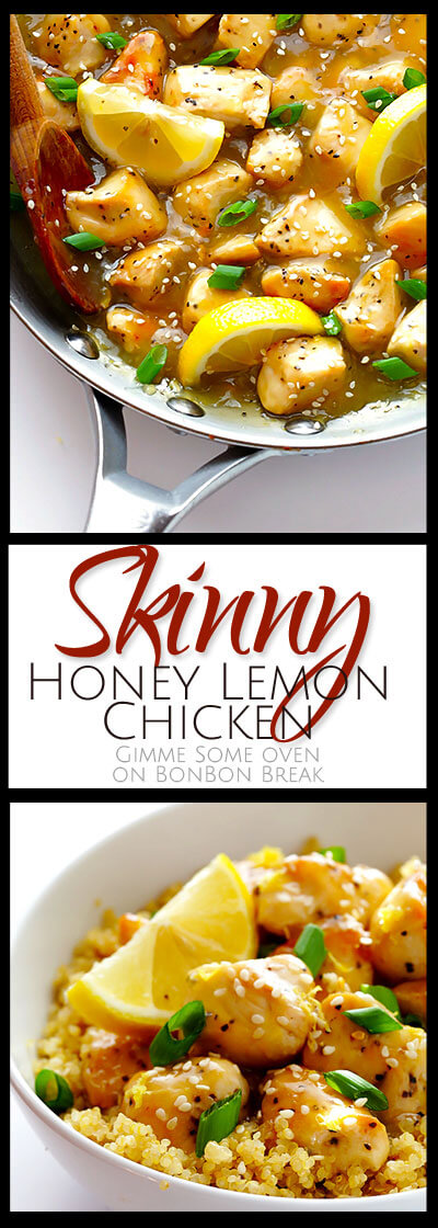 This is an easy dinner for a weeknight. Skinny Honey Lemon Chicken is a gluten free, family-friendly one pot wonder!