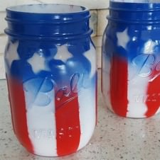 DIY Red, White and Blue Mason Jars