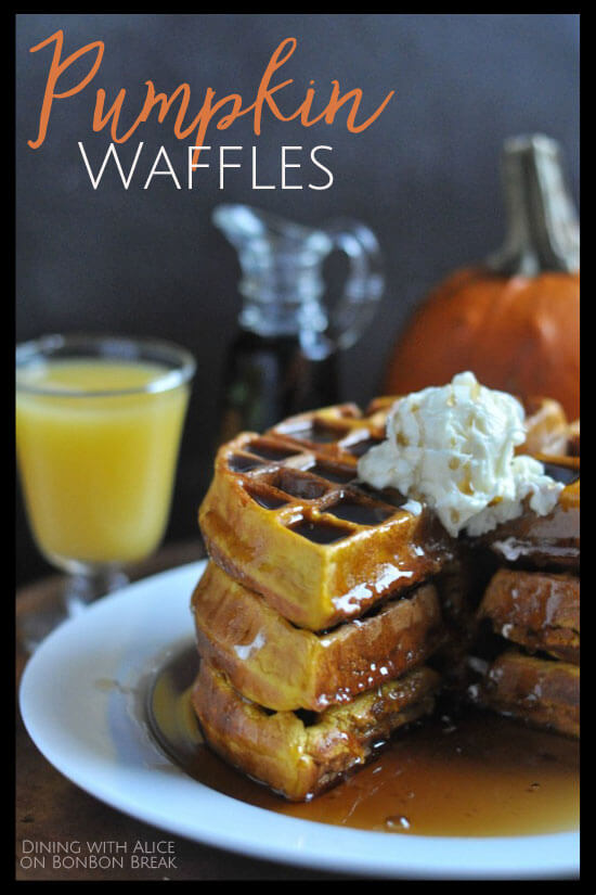 An easy recipe for pumpkin waffles using simple ingredients. Perfect for breakfast or to pack in school lunches.