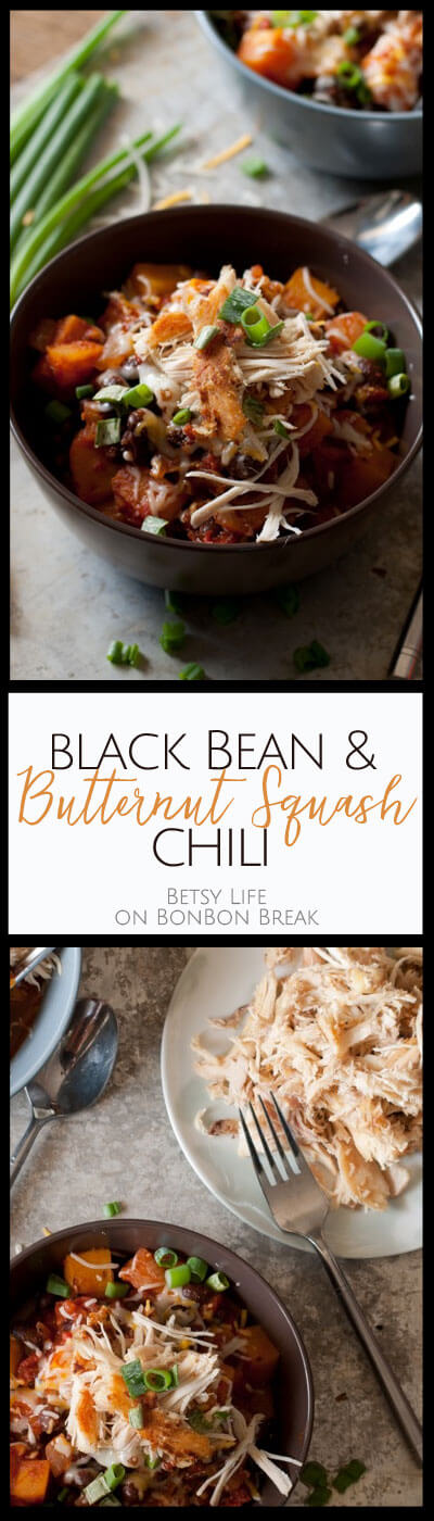 Easy black bean and butternut squash chili topped with crispy chicken.