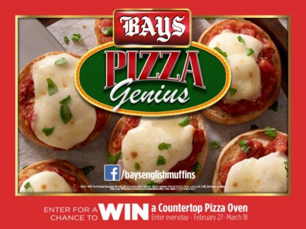Love English muffin pizzas? Check out the New Bays English Muffins Pizza Genius Sweepstakes to win a countertop pizza oven.