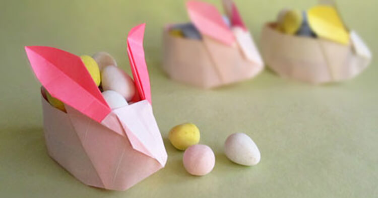 how to make an origami easter rabbit basket