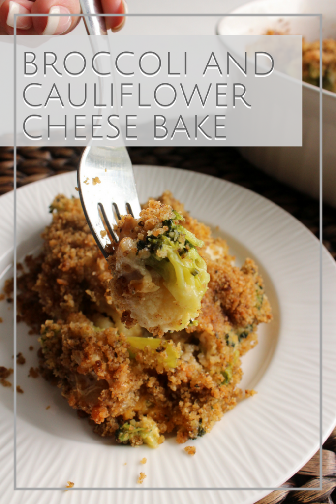 Dig into this easy and delicious gluten-free broccoli and cauliflower cheese bake casserole. Great side dish for the holidays!