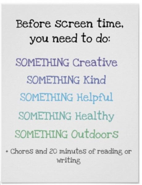 screen time rules poster