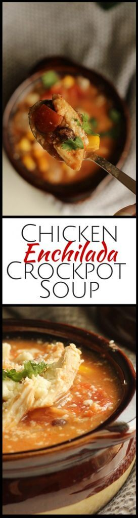 This is a fast weeknight dinner that is the perfect fall or winter soup. Our chicken enchilada crockpot soup is gluten free and family-friendly.